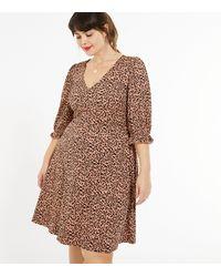 New Look - Curves Brown Leopard Print Mini Dress - Lyst