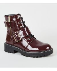 New Look Dark Red Patent Lace Up Buckle Boots