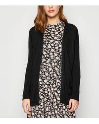 New Look - Black Double Pocket Fine Knit Cardigan - Lyst
