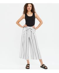 New Look - Tall White Stripe High Waist Cropped Trousers - Lyst