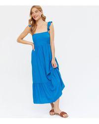 New Look - Square Neck Tie Back Oversized Midi Dress - Lyst