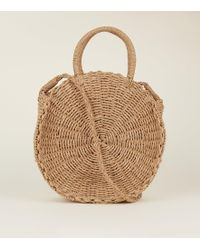 New Look Tan Circle Woven Straw Tote Bag - Brown