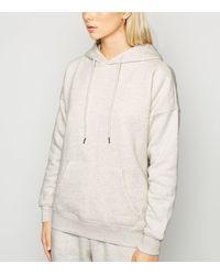 New Look Cream Marl Long Sleeve Jersey Hoodie - Natural