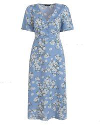 New Look Pale Blue Floral Midi Tea Dress