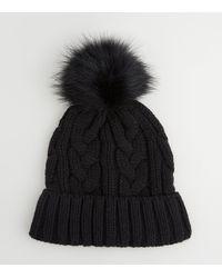 New Look Black Cable Knit Faux Fur Bobble Hat