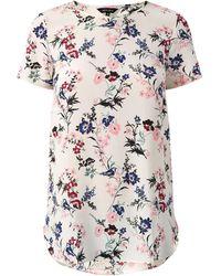 New Look White Oriental Bird Print Longline T-shirt