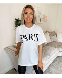 AX Paris White Paris Logo Oversized T-shirt