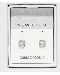 New Look Cubic Zirconia Square Stud Earrings - Metallic