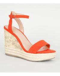c593f14df6b New Look - Orange Suedette Espadrille Trim Cork Effect Wedges - Lyst