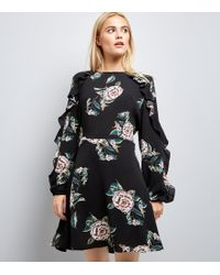 c2e89582fd New Look Black Floral Keyhole Tie Back Skater Dress in Black - Lyst