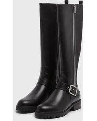 New Look Black Chunky Zip Knee High Boots