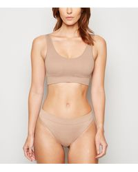 New Look - Tan Ribbed Seamless Crop Top - Lyst