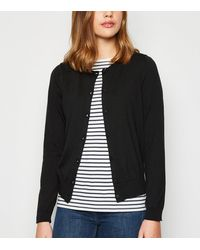 New Look Black Crew Neck Button Up Cardigan