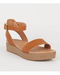 New Look Tan Leather-look Flatform Footbed Sandals - Brown
