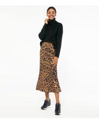 New Look Brown Leopard Print Bias Cut Satin Midi Skirt