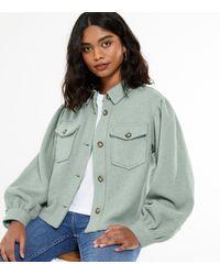 New Look Light Green Puff Sleeve Crop Shacket