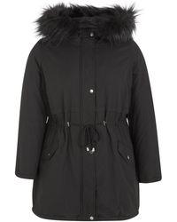 New Look Curves Black Faux Fur Hooded Parka Coat