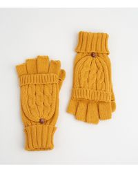 New Look Mustard Cable Knit Flip Top Gloves - Yellow