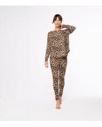 New Look Brown Leopard Leggings Pyjama Set