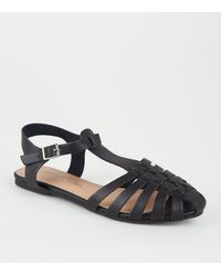 New Look Black Leather-look Caged Shoes