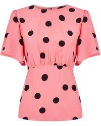 New Look Pink Spot Tie Back Top