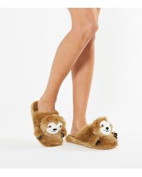 New Look Light Brown Sloth Mule Slippers