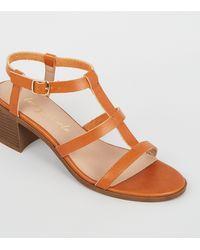 New Look Tan Leather-look Block Heel Gladiator Sandals - Brown