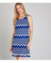 Apricot Blue Zig Zag Lace Shift Dress