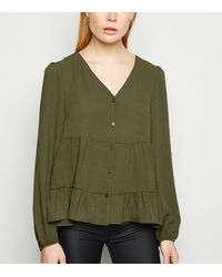 New Look Khaki Tiered Button Up Long Sleeve Blouse - Green