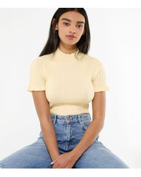 New Look - Pale Yellow Ribbed Knit High Neck Top - Lyst