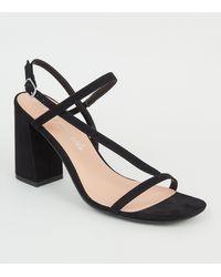 New Look Black Suedette Asymmetric Strap Block Heel Sandals