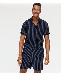 New Look Navy Stripe Short Sleeve Collared Shirt - Blue