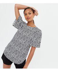 New Look White Animal Print Flutter Sleeve T-shirt