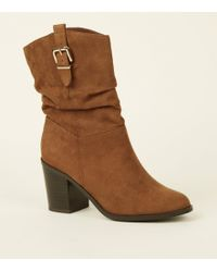 New Look Tan Suedette Buckle Side Western Calf Boots - Brown