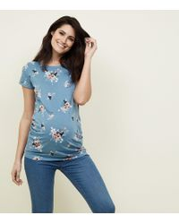 New Look - Maternity Blue Floral Short Sleeve T-shirt - Lyst