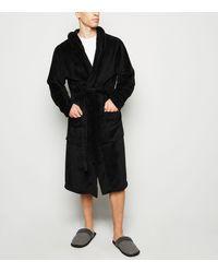 New Look Black Hooded Fleece Dressing Gown