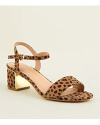 New Look - Wide Fit Brown Leopard Print Suedette Heeled Sandals - Lyst