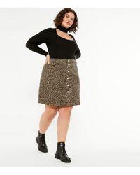 New Look - Curves Brown Leopard Print Denim Mini Skirt - Lyst