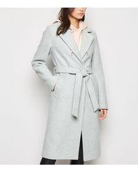 New Look Pale Grey Longline Belted Coat
