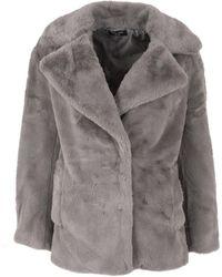 New Look Petite Dark Grey Faux Fur Coat