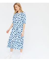 New Look - Pale Blue Spot Smock Midi Dress - Lyst