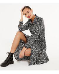 New Look Black Zebra Print Midaxi Shirt Dress