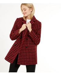 New Look Red Dogtooth Bouclé Double Breasted Blazer