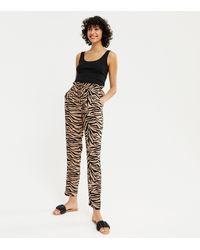 New Look - Brown Zebra Print Straight Leg Joggers - Lyst