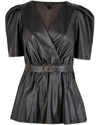 New Look Black Leather-look Belted Top