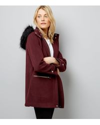 New Look Burgundy Faux Fur Trim Hooded Duffle Coat - Multicolour