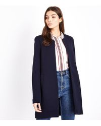Apricot - Navy Ribbed Open Front Jacket - Lyst