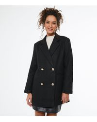 New Look Petite Black Bouclé Double Breasted Blazer Coat