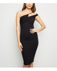 New Look Black Asymmetric Strap Bodycon Dress