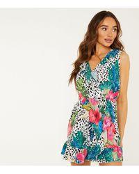 Quiz - Multicoloured Tropical Frill Wrap Mini Dress - Lyst